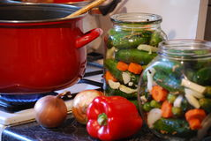 Groenten in het zuur Stock Afbeelding