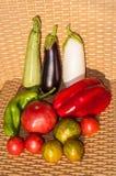 Groenten in mand Stock Afbeeldingen