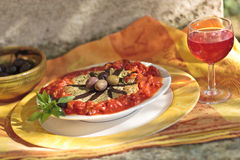 Groenten met olijven en wijn Royalty-vrije Stock Fotografie