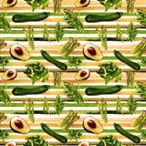 Groenten Naadloos Patroon met Strepen Herhaalbaar Patroon met Gezond Voedsel Royalty-vrije Stock Foto