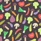 Groenten naadloos patroon op donkere achtergrond Royalty-vrije Stock Afbeeldingen