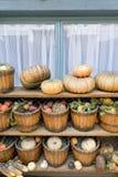Groenten naast het venster Stock Afbeelding