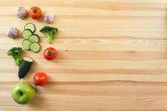 Groenten op de houten achtergrond Stock Afbeelding