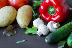 Groenten op de lijst Verse wortelen, tomaat, ui en greens op de natte houten lijst Stock Foto's
