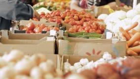 Groenten op de teller bij de supermarkt De kopers kiezen groenten stock videobeelden