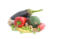 Groenten op de witte achtergrond Stock Foto