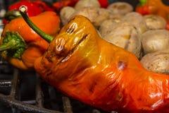 Groenten op een barbecue Stock Foto's