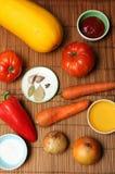 Groenten op een lijst Stock Afbeelding