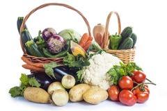 Groenten op een witte achtergrond worden geïsoleerd die Stock Foto's