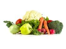 Groenten op een witte achtergrond worden geïsoleerd die Verse product-groenten vegetables Kleurrijke groente Gezonde groente Asso Stock Foto's