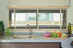 Groenten op worktop in de keuken stock fotografie