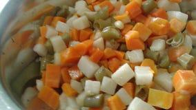 Groenten: snijbonen, wortelen en bloemkolen Stock Foto