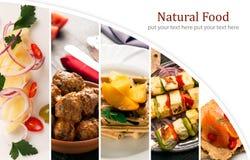 Groenten: snijbonen, wortelen en bloemkolen Het blad van de foto collage Royalty-vrije Stock Foto's