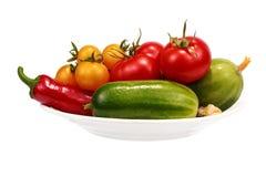 Groenten voor de salade op een plaat Royalty-vrije Stock Afbeeldingen