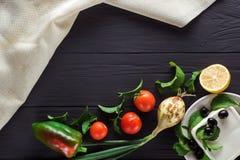 Groenten voor het koken van Griekse salade Copyspace Royalty-vrije Stock Foto's