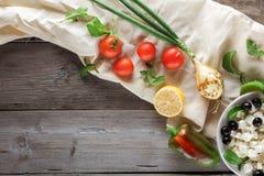 Groenten voor het koken van Griekse salade Copyspace Royalty-vrije Stock Afbeelding