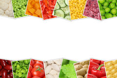 Groenten zoals tomaten, paprika, sla, aardappels met copysp Stock Afbeeldingen
