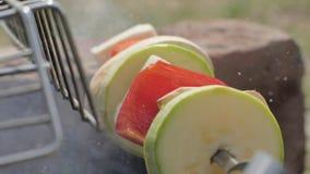 Groentencourgette en groene paprika die op vleespen in barbecue dicht omhoog roosteren stock video