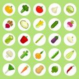 Groentenpictogrammen op vlakke stijl Witte Achtergrond die worden geplaatst Stock Afbeeldingen