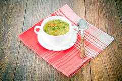 groentesoep in een witte plaat Royalty-vrije Stock Foto