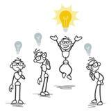 Groep, één stokmens die helder idee heeft Stock Afbeelding