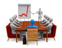Groep 3d personen op de vergadering Stock Foto