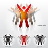 Groep abstracte mensen met hun omhoog handen Royalty-vrije Stock Afbeelding