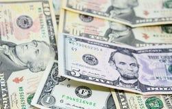 Groep Amerikaanse Dollarrekeningen Royalty-vrije Stock Afbeelding