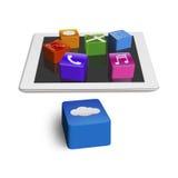 Groep app pictogrammen op leeg stootkussen met wolkenkubus vector illustratie