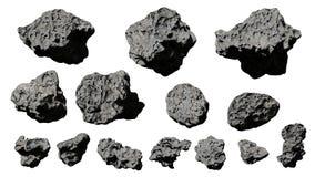 Groep asteroïden op witte achtergrond wordt geïsoleerd die stock illustratie