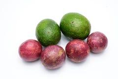 Groep avocado's en passievrucht op een wit worden geïsoleerd dat Stock Foto