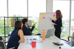 Groep Aziatische bedrijfsmensen die strategieën op tikgrafiek verklaren in conferentieruimte stock foto