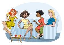 Groep babbelende vrouwen Stock Afbeeldingen