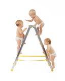 Groep babys die op trapladder over wit beklimmen Stock Afbeelding