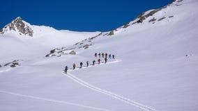 Groep backcountry skiërs die een gletsjer op hun manier aan een hoge top in de Alpen kruisen Stock Foto's