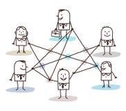 Groep bedrijfsdiemensen door lijnen wordt verbonden Stock Afbeelding