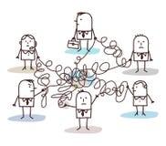 Groep bedrijfsdiemensen door slordige lijnen wordt verbonden stock illustratie