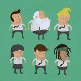 Groep bedrijfsmannen karakter, vrouwen Stock Foto