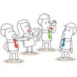 Groep bedrijfsmensen die collega intimideren stock illustratie