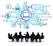 Groep Bedrijfsmensen die Globale Zaken bespreken stock illustratie