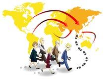 Groep bedrijfsmensen die naar kans in Azië streven vector illustratie