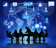 Groep Bedrijfsmensen Globale Mededelingen stock afbeelding