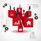 Groep bedrijfsmensen op 3d kubussen. Stock Fotografie