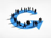 Groep Bedrijfsmensen op een het Werkcyclus stock illustratie