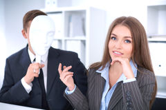 Groep bedrijfsmensen op een vergadering Negatief concept, Gebrek aan begrip, gebrek aan overeenkomst royalty-vrije stock afbeelding