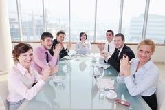 Groep bedrijfsmensen op vergadering Stock Afbeeldingen