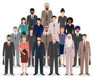 Groep bedrijfsmensen Reeks vlakke mannen en vrouwen, bureauwerknemer die zich verenigen Het schaak stelt bischoppen voor Stock Foto