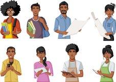 Groep beeldverhaal zwarte mensen stock illustratie