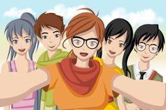 Groep beeldverhaaljongeren stock illustratie