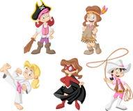 Groep beeldverhaalmeisjes vector illustratie